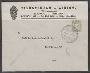 Iceland 1936. Domestic printed matter cover with contents.