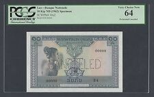 Lao 10 Kips ND(1962) P10bs2 Signature 5 Specimen Perforated  Uncirculated