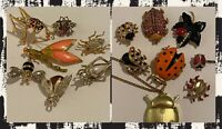 VINTAGE ENAMELED RHINESTONE BROOCH COLORFUL BUGS INSECTS OWL MORE LOT OF 16