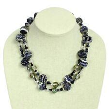 "NE506 Artisan Glass 2 Strand Beads Crystal Necklace 20"" Mayan Elegant Grey Shade"