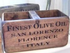 VINTAGE STYLE WOOD STORAGE CRATE DISPLAY CHEST BOX OLIVE OIL FLORENCE ITALY