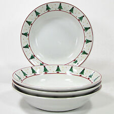"Sakura MAGIC OF SANTA 16oz Soup 7.5"" Bowl Set 4pc Red Green Christmas Tree Mumm"