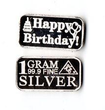 1g Solid Silver Bar .999 Bullion Pure Ag (HAPPY BIRTHDAY)