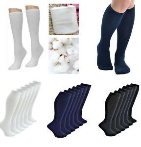 Cotton Long School Knee High Black White Navy Blue Socks Kids Boys Girls New AU