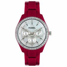 Fossil Women's ES2158 Crystal Accented Multi-Function Maroon