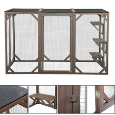 "43.5""H Xl Wood Cat Run House Outdoor Enclosure Animal Catio Cage w/ 3 Platforms"
