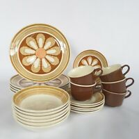 VTG Royal China Dinnerware Set, Brown Daisy Flower, Mid Century Dishes