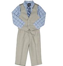 Izod Boys Four Piece Vest Set, Tan/Blue, Boys 10