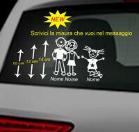 3 adesivi stickers adesivo famiglia a bordo vetri auto nome bambini coppia