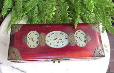 VTG SHANGHAI CHINESE WOOD  JEWELRY BOX WITH JADE MEDALLIONS