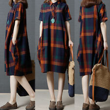 US STOCK Womens Short Sleeve Summer Shirt Dress Plaid Check Midi Dress Sundress