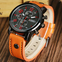 CURREN Men's Leather Band Sport Casual Quartz Analog Wrist Watch Fashion Gifts