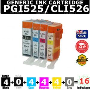 16x Generic Ink PGI-525 CLI-526 For Canon PIXMA MG6150 MG6250 iP4850 iP4950