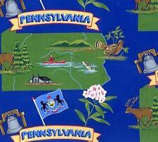Keystone State Pennsylvania Map Tourism Fleece Fabric Print by the Yard A248.02