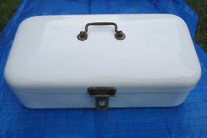 Vintage White Enamelware Bread Box Hinged Lid Handle Latch Enamel Ware