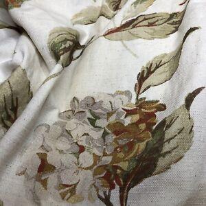 "Large Linen Blend Laura Ashley Curtains Hydrangea Rare Sienna Natural L93"" W 77"""