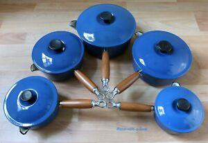 Genuine Le Creuset Five Pan Set Blue Cast Iron Round Saucepans Pots With Lids
