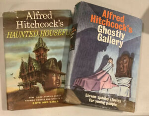 Lot 2 vtg Alfred Hitchcock HC Books Haunted Houseful & Ghostly Gallery 1960's