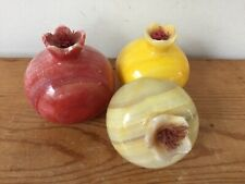 Set 3 Vintage Solid Carved Stone Marble Agate Red Yellow Pomegranate Fruit Decor