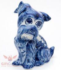 Gzhel Porcelain Figurine penny box Schnauzer Dog w butterfly Souvenir handmade