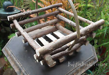 Wooden BASKET English Hampshire-coppiced sustainable hazel willow posy display