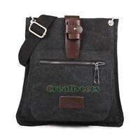Men's Canvas Leather Vintage Cross body Messenger Shoulder Casual Bag Studded
