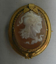 Pendant with Diamonds Yellow Gold Antique Shell Victorian Cameo Pin Brooch