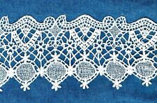 """STUNNING  VENISE LACE RAYON BRIDAL GUIPURE SATIN 4"""" VINTAGE STYLE EE76"""