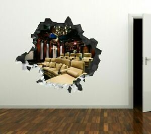 Movie Theater Room White Custom Wall Decals 3D Wall Stickers Art GS602