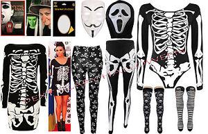 Ladies Halloween Plus Size Leggings Bodysuit Skeleton Dress Costume womens 8-26