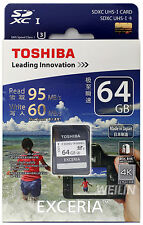 TOSHIBA EXCERIA 64GB SD SDXC UHS-I U3 R 95MB W 60MB MEMORY CARD 4K Ultra HD 64G