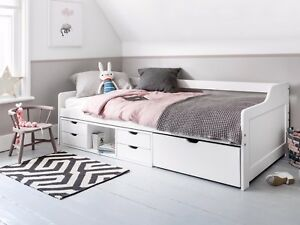 Cabin Bed Day Bed Eva in White kids Bed Childrens Bunk drawers
