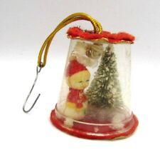 1960s Vintage Handmade Christmas Diorama Ornament Snowman Christmas Tree
