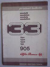1986 ALFA ROMEO 33 1.3-1.3 S-1.5 TI-1.7 Quad-4x4-Giardinetta-TD Product Bulletin