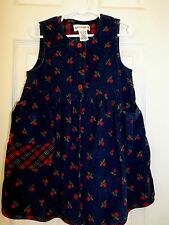 "GYMBOREE 3-4 yrs. cotton navy blue corduroy print jumper ""Fall Harvest"" EUC"