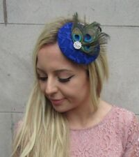 Green Silver Royal Blue Peacock Feather Pillbox Hat Fascinator Hair Clip 6261
