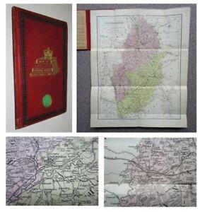 1836 MAP of NOTTINGHAMSHIRE Nottingham Worksop folding coloured Map cloth covers