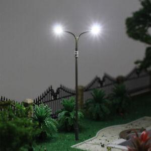 10pcs Model Railway HO OO Scale Lamp Post 10cm White Street Light LED Two-lights