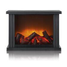 EASYmaxx LED-Standkamin Flammeneffekt Schwarz Kamin 28x10x20cm Batterie Kabellos