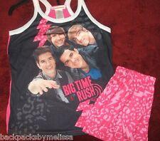 Big Time RUSH Pajamas Girl's size 7/8 NeW Summer Pjs Shirt Shorts James Maslow