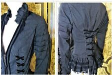 SPIN DOCTOR Gray & Black Jacket Black Lace Victorian Steampunk Goth Corset SzL