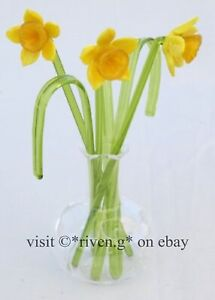 DAFFODILS GLASS ORNAMENT SCULPTURE@VASE@BUNCH OF Flowers@HOUSE WARMING GRASS Set