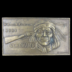 Vtg 1970s NOS Exposition 1904 Geronimo Native American Indian Rifle Belt Buckle