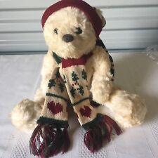Russ Berrie Schubert Christmas Bear winter hat scarf plush stuffed animal