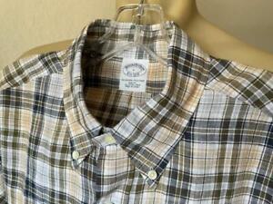 BROOKS BROTHERS Men's Irish LINEN Tan Checked Slim Fit Long Sleeve Shirt Large