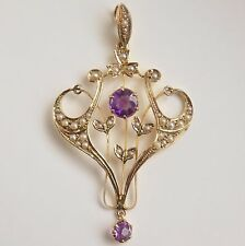 Antique Victorian Art Nouveau 9ct Gold Amethyst & Pearl Pendant Necklace c1895