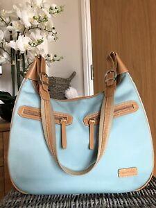 STORKSAK LONDON Baby Blue /tan leather Diaper Changing Shoulder Bag
