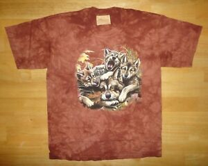 Vintage 2000 THE MOUNTAIN Wolves Wolf Pups Brown Tie Dye Shirt Youth Large *NEW*