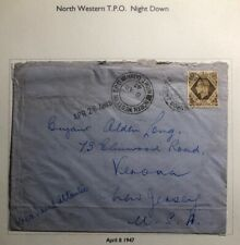1947 North Western England Cover Traveling Post Office Tpo To Verona Nj Usa
