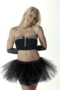 New Ladies 3 Layers Plain Tutu Skirt Black Halloween Fancy Dress Party Accessory